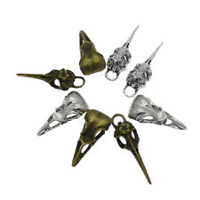 8pcs Alloy Silver&Bronze Mixed Bird Skulls Jewelry Pendants Charms Crafts 53578