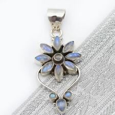 Mondstein Anhänger Silber 925  Kettenanhänger Regenbogen Cabochon Blume