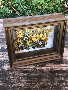 Vintage J O'Brien 3D Flowers Framed Wall Art 1970's Floral Pop Up Shadow Box Art