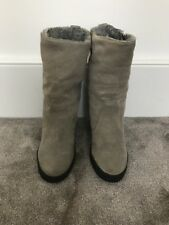 """Grey Suede Wedge Boots Size 6 - 6 1/2 With 4"""" Heel"""