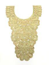 Diamante Stone Gold Neckline Gala Neck Collar Applique Patch Sew On