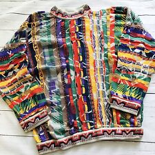 Coogi Australia Mens Knit Multi-Colored Sweater Biggie Cosby Small 3D Colorful