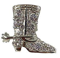 Cowboy Boot Rhinestone Ring Glamour Statement Jewelry Stretch Band  R12360