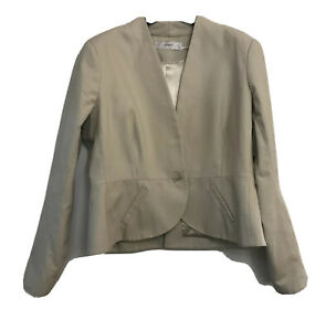 Events Beige Size 16 Lined Collarless Jacket Blazer Corporate Business