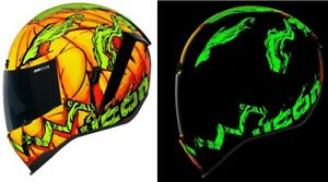 """ICON AIRFORM """"TRICK OR STREET"""" MOTORCYCLE HELMET - GLOWS IN THE DARK - PICK SIZE"""