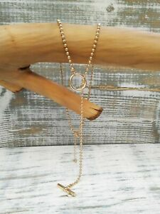 Anthropologie Gold T Bar Long Chain Necklace