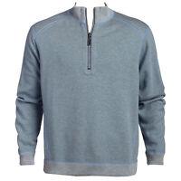 Men's SZ 2XL TOMMY BAHAMA $120 FLIPSIDER REVERSIBLE HALF ZIP pullover Blue/Gray