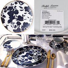 """Ralph Lauren Audrey Porcelain Salad Plate 7.5"""" Blue Floral 24K Gold Trim NEW"""