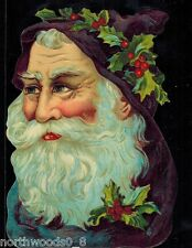 Santa Navy Blue Holly Bust Head Face Christmas Embossed German Paper Scrap Card