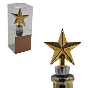 Christmas Character Gold Wine Bottle Stopper Cork - Star