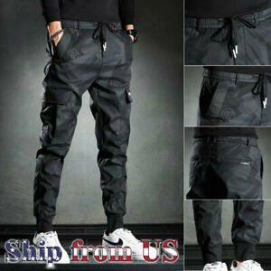 Man Casual Jogger Pants Sweatpants Cargo Combat Loose Streetwear Urban Trousers