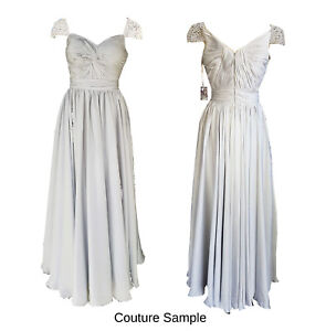 NEW Soft Silver Grey Couture Sample Formal/Bridal Dress / Gown - Size 8