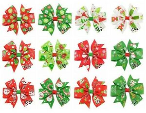 "24 Pcs 3""  Girls Grosgrain Ribbon Hairbows, Hair Bows for Christmas Holidays"