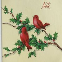 Vintage Early Mid Century Christmas Greeting Card Red Birds In Tree Holly Berry