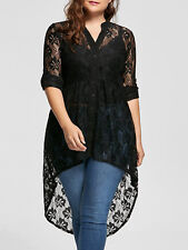 Women Long Sleeve Button Up Plus Size Blouse High Low Lace Sheer Plus Size Tops