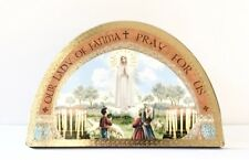 """OUR LADY OF FATIMA ICON - 7"""" Wood Plaque / Gold Foil Highlights"""