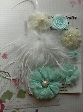 MINT & IVORY Organza Lace Satin 1 Lg Feather 6 Flowers 25-70mm NjoyfullCrafts Z3