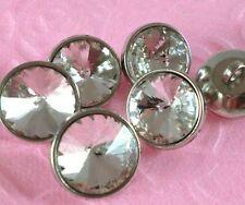 8 Sparkling 18mm Crystal/Rhinestone Silver Metal Shank Buttons N109