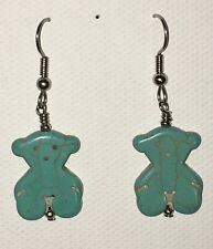 STONE BEAR Earrings Surgical Hook New Turquoise Color Howlite Dyed