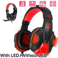 PC Gamer Gaming Headset Stereo Surround Headphones 3.5mm Wired Mic/LED Light