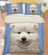 3D Samoyed Puppy R67 Bed Pillowcases Quilt Duvet Cover Double Vincent Zoe