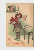 ANTIQUE POSTCARD VALENTINES CUPID LOOKS THROUGH WINDOW AT GIRL WITH CARD BOUQUET