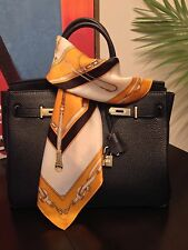 St. Germain 100% Silk Scarf Equestrian Classic Orange Square