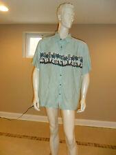 Men's Batik Bay Button down Hawaiian Shirt Hand Painted Very Soft Light Aqua XXL