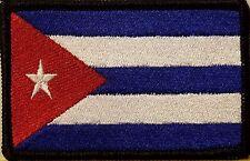 CUBA Flag Iron-On Patch Tactical Cuban Morale Emblem Black Border