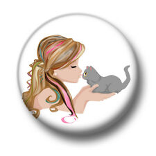 Cat Girl 1 Inch / 25mm Pin Button Badge Cats Kittens Cute Crazy Lady Animals