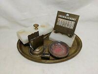 Vintage Antique Brass Desk Tool Lot Perpetual Calendar Blotter Tray Onyx