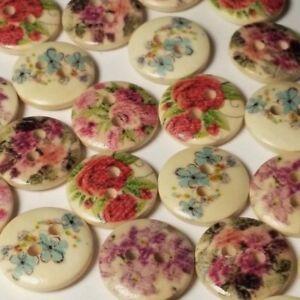 50pcs Assorted Flower Print Wooden Sewing Buttons 2 Hole 15mm Scrapbook B32588