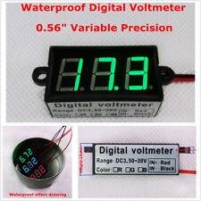 """Micro 0.56"""" Digital Voltmeter Green LED DC3.50-30.0V Waterproof Car Motorcycle"""