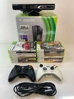 Microsoft Xbox 360S 250GB Console Bundle 16 Games 2 Controllers Box Kinect