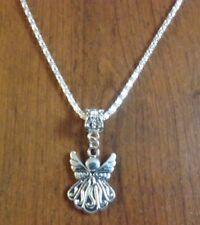 collier chaine argenté 43 cm avec pendentif ange 21x15 mm