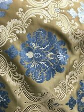 Blue Dark Gold Damask Chenille Upholstery Brocade Fabric (54 in.) Sold Bty