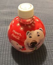 Coca Cola 2009 Holiday Ornament Bottle Round Santa Roly Poly Empty Coke Crafter