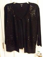 NWT Rafaella Black Women's Light Sweater Cardigans Sequin Size Large
