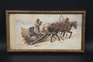 Russischer Pferdeschlitten Aquarell unles. sign. 19.Jhd (BK4549)