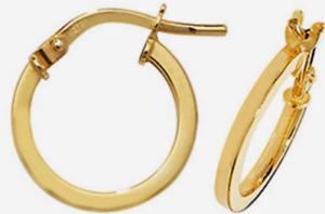 9CT GOLD HOOP EARRINGS ROUND CREOLE SLEEPER 9 CARAT YELLOW GOLD