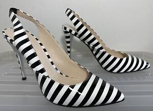 WITTNER Natasia Black White Stripe Patent Leather Slingback Heels 39 (8) #19348