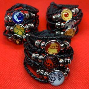 A Game of Thrones - GOT Leather Woven Bracelet Bangal Stark Targaryen Black NEW