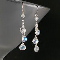 Precious Natural Rainbow Moonstone Chain Dangle Drop Handmade Silver Earrings