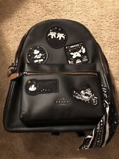 NWT COACH DISNEY MICKEY MOUSE BLACK MULTI PATCHES CHARLIE LEATHER BACKPACK