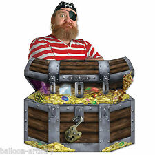 """34"""" Pirata Fiesta Cofre del tesoro botín de oro recorte Prop Decoración De Stand Up"""
