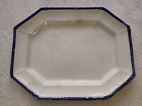 Antique Flow Bleeding Blue Farmhouse Pottery Meat Bread Serving Platter 15 12