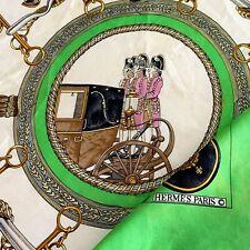 HERMES PARIS GRANDS ATTELAGES 100% Silk Scarf POOR CD 34 In MADE IN FRANCE