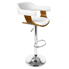 Wooden Bar Stool Kitchen Cafe Dining Chair White PU Faux Leather Selina Swivel