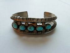 Navajo Turquoise & Sterling Silver Cuff Bracelet, Signed E. Claw