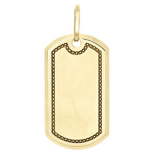 """Real 10K Yellow Gold Army Military Style Dog Tag ID Pendant 1.90"""" Unisex Charm"""